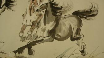 徐悲鴻名作21匹駿馬圖中的2匹駿馬